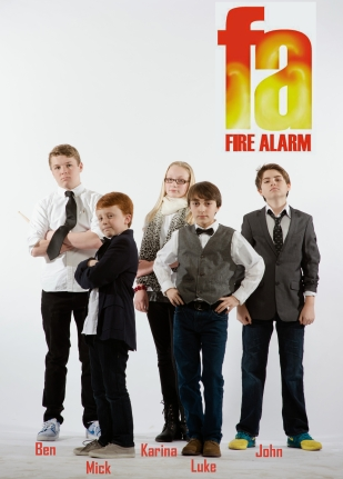 Fire Alarm: Ben (Drums), Mick (Bass), Karina (Vocals, Keys), Luke (Vocals, Guitar, Keys), John (Keys, Vocals)